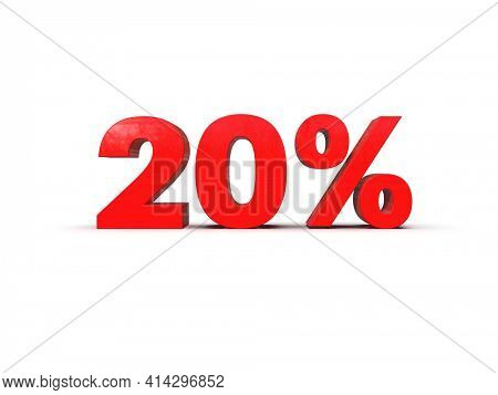3d Illustration: 20 Percent Sign, Economic Crisis, Financial Crash, Red 20% Percent Discount 3d Sign on White Background, Special Offer 20% Discount Tag, Sale Up to 20 Percent