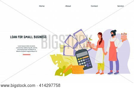 Loan For Small Business Website Banner With Entrepreneurs. Credit For Entrepreneurs And Owners. Fina