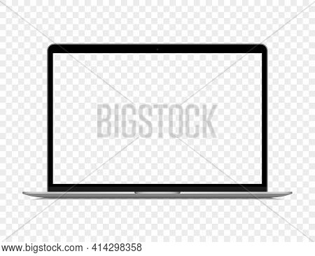 Realistic Gray Laptop With Blank Screen On A Transparent Background