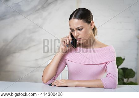 Portrait Of Nervous Frustrated Sad Upset Young Woman, Disappointed Girl Calling, Talking On Cell Mob