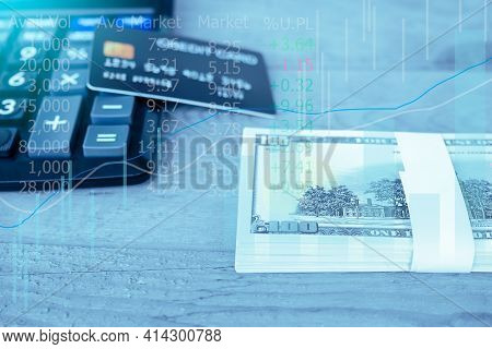 Coin With Forex Trading Data And Bokeh Blured.  Planing Earn Money Investment And Saving Money Futur