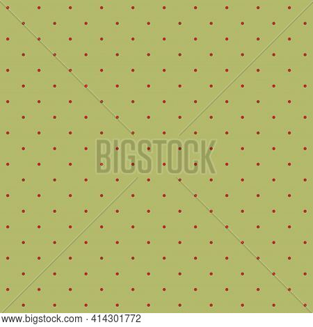 Seamless Pattern - Small Reddish Dots On A Dirty Olive Background. Mat Graphic Texture For Design. V