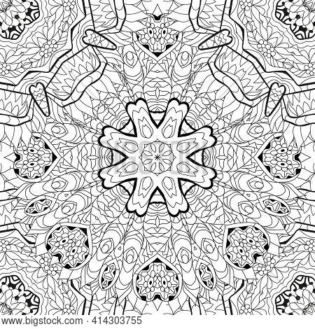 Vector Adult Coloring Book Seamless Textures. Hand-painted Art Design. Adult Anti-stress Coloring Pa