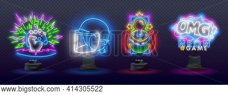 Neon Game Signs. Retro Video Games Night Light Icons. Gamer. Game Console Logo, Label And Emblem. Ne