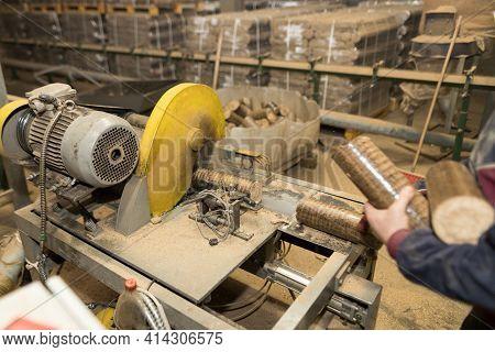 Briquettes Wooden Blocks In Yellow Cutting Machine