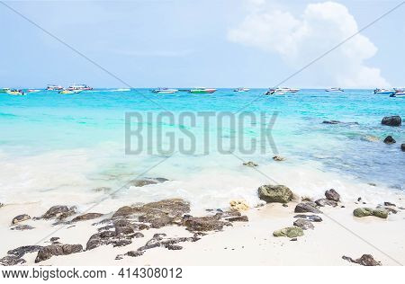 Blue Sea And Blue Sky With Stone For Travel Or Summer Holiday. Ocean Koh Lan Thailand.