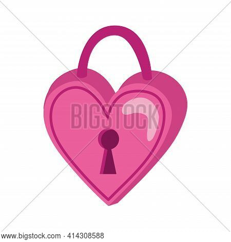 Heart Lock In Doodle Style. Isolated Objects Perfect For Valentine's Day Card Or Romantic Post Cards