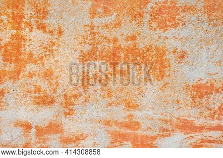 Old Metal Texture With Abstract Rusty Pattern, Corrosive Orange Background.
