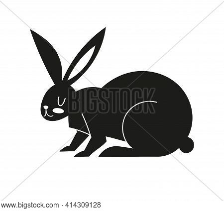 Black Icon With A Hare. Silhouette With Easter Bunny. Vector Illustration With Animal Isolated On Wh