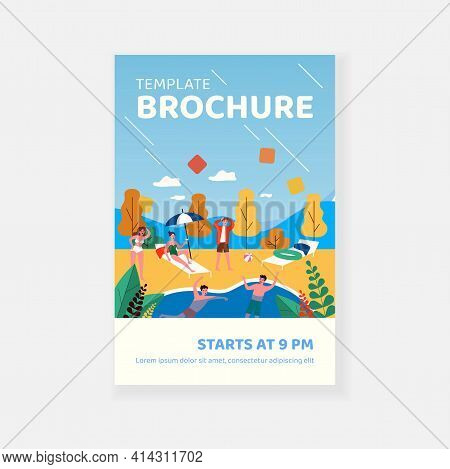 Young Guy Saving Friend From Drowning In Swimming Pool. Water, Summer, Weekend Flat Vector Illustrat