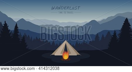 Wanderlust Camping Adventure Tent At Mountain And Forest Landscape