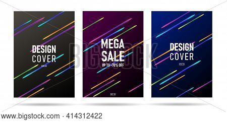 Set Of Digital Banners Or Posters With Bright Neon Comet Track, Space Science Pamphlet Cover Design