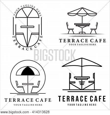 Set Of Terrace Cafe Line Art Logo Vector Logo Illustration Design