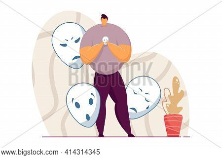 Man Holding Smiling Mask Covering Emotions. Person Standing With Mask In Hand, Hiding His Feelings.