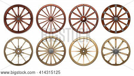 Wheel Of West Wild Isolated Realistic Set Icon. Vector Realistic Set Icon Wooden Cartwheel. Vector I