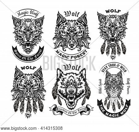 Ornamental Vintage Black And White Wolf Vector Illustrations Set. Isolated Graphic Sketches Of Preda