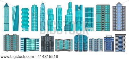 High Building Isolated Cartoon Set Icon.vector Illustration Illustration Skyscraper On White Backgro