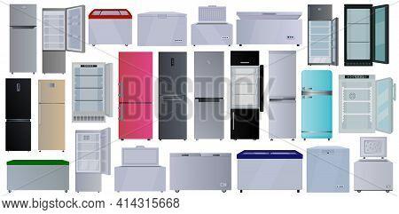 Freezer Vector Cartoon Set Icon. Vector Illustration Fridge On White Background. Isolated Cartoon Se