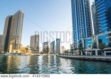 Dubai, United Arab Emirates - 08 December, 2018: View On Skyscrapers Of Dubai Marina, An Artificial