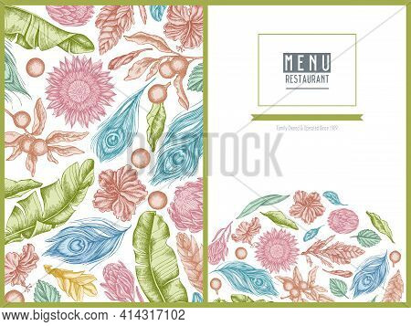 Menu Cover Floral Design With Pastel Banana Palm Leaves, Hibiscus, Solanum, Bromeliad, Peacock Feath