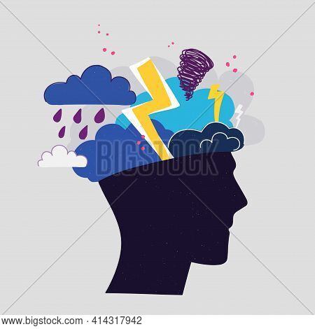 Mental Health Concept. Abstract Image Of A Head With Bad Weather Inside. Thunder, Clouds And Lightni