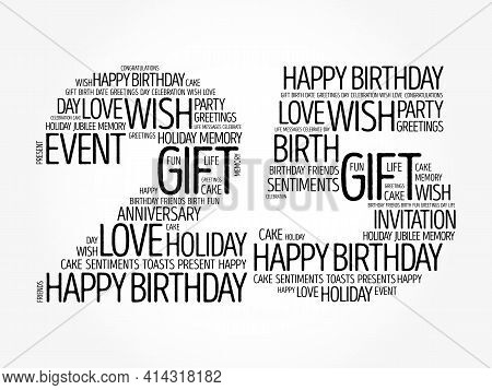 Happy 25th Birthday Word Cloud, Holiday Concept Background