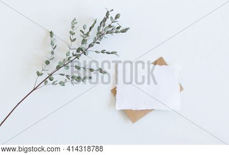 Bright Feminine Spring Stationery Mockup Scene With A Handmade Paper Greeting Card And Eucalyptus Le