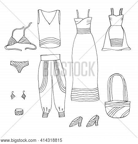 Freehand Sketch Style Drawing. Doodle Set Fashion. Glamorous Things For Girl. Clothing, Jewelry, Acc