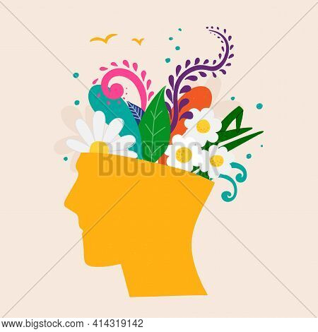 Mental Health Concept. Abstract Image Of A Head With Flowers Inside. Plants, Flower And Leaves As A