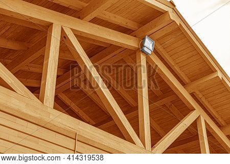Wooden Roof Structure. Glued Laminated Timber Roof. Rafters Made Of Wood.