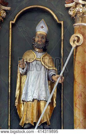 SVETI PETAR MREZNICKI, CROATIA - JULY 14, 2013: St. Donatus, statue on the high altar in the parish church of St. Peter in Sveti Petar Mreznicki, Croatia