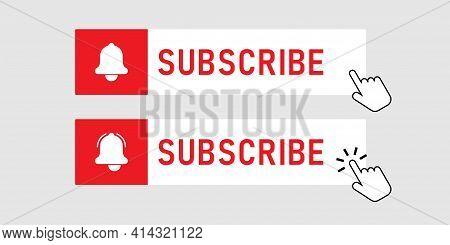 Subscribe Red Button. Social Media Web Button. Bell Button
