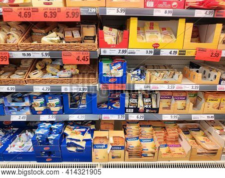 Bytom, Poland - December 31, 2020: Cheese Promo Prices In A Lidl Supermarket In Bytom, Poland. Lidl
