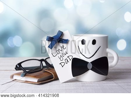 Father's Day Greeting Card,mug On Table With Text,holiday Design Objects.objects.