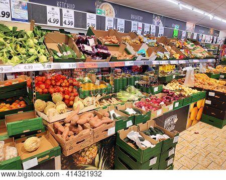 Bytom, Poland - December 31, 2020: Vegetable Prices In A Lidl Supermarket In Bytom, Poland. Lidl Is