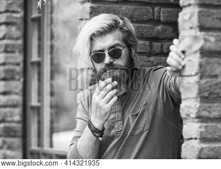Handle The Stress. Punk Hipster Man Smoking. Smoking And Habit. Secondhand Or Passive Smoke. Brutal