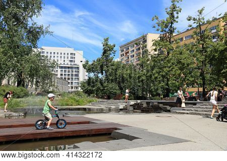 Warsaw, Poland - June 19, 2016: People Visit Grzybowski Square In Warsaw, Poland. Warsaw Is The Capi