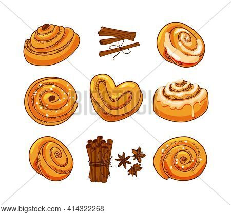 A Set Of Buns With Cinnamon And Icing Sugar In A Cartoon Style. Vector Illustration.