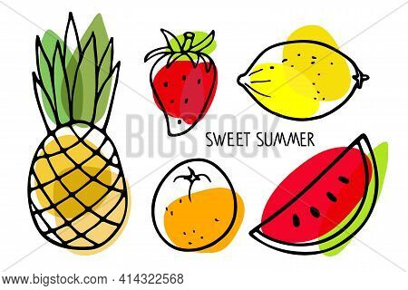 Set Of Summer Seasonal Fruits. Watermelon, Pineapple, Strawberry, Lemon, Orange Fruit Hand Drawn Ske