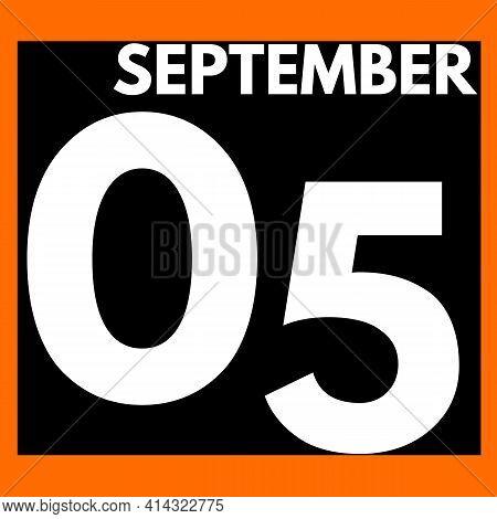 September 5 . Modern Daily Calendar Icon .date ,day, Month .calendar For The Month Of September