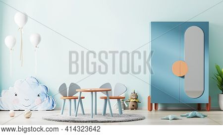 Blue Children Room Interior Mock Up With Cupboard, Toys And Kids Table, Scandinavian Kids Room Inter