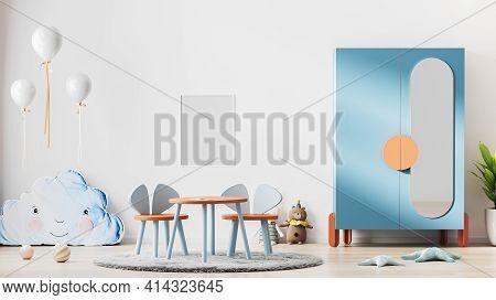 Frame Mock Up In Modern Scandinavian Style Children Room Interior, Kids Room Interior Background, Nu