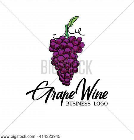 Fresh Grape Fruit Design Logo Vector. Grape Illustration Design Vector