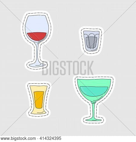 Red Wine Vodka Tequila Vermouth Glassware As A Sticker. Cartoon Sketch Graphic Design. Doodle Style.