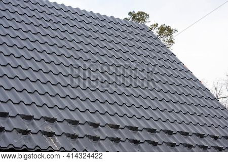 New Metal Roof Construction. Building Construction And Renovation.