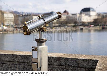 Antiques Old Interesting Observation Platform Binoculars For City And Landscape Sightseeing Made Of