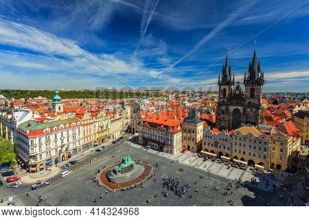 View of Stare Mesto Square Old City Square and Tyn Church Tynsky Chram from Town Hall