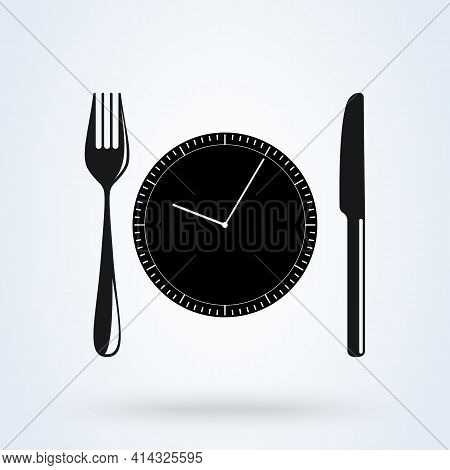 Lunch Time Linear Icon. Dinner Break. Afternoon Business Meeting. Business Lunch. Table Knife, Fork