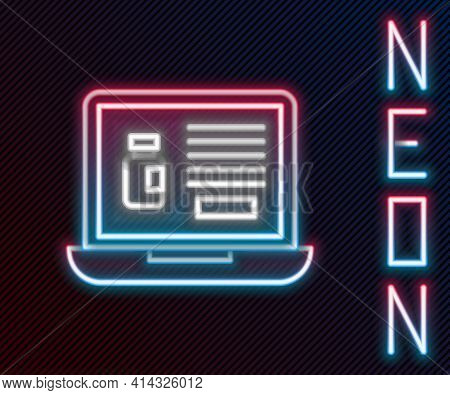 Glowing Neon Line Buying Drugs Online On Laptop Icon Isolated On Black Background. Online Buying Sym
