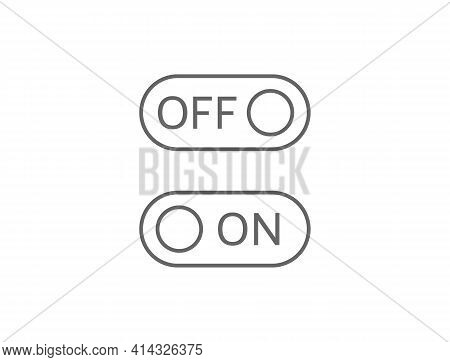 On And Off Line Art Icons. Switch Buttons On White Background. Toggle Sign. Active And Inactive Symb